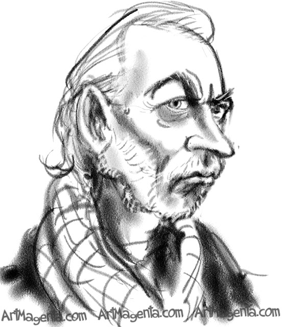 Donald Sutherland caricature cartoon. Portrait drawing by caricaturist Artmagenta