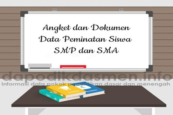 Angket dan Dokumen Data Peminatan Siswa SMP SMA Terbaru