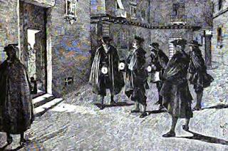 El dibujo muestra un grupo de seis hombres ante la puerta de una casa, portando faroles.