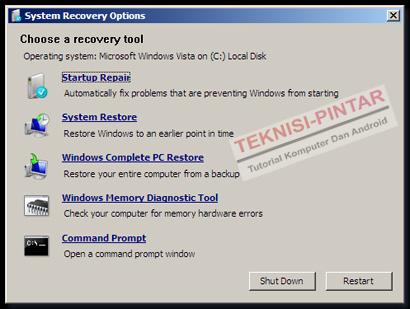 Cara Memperbaiki/Repair Windows 7 dengan Startup Repair Tanpa Instal Ulang
