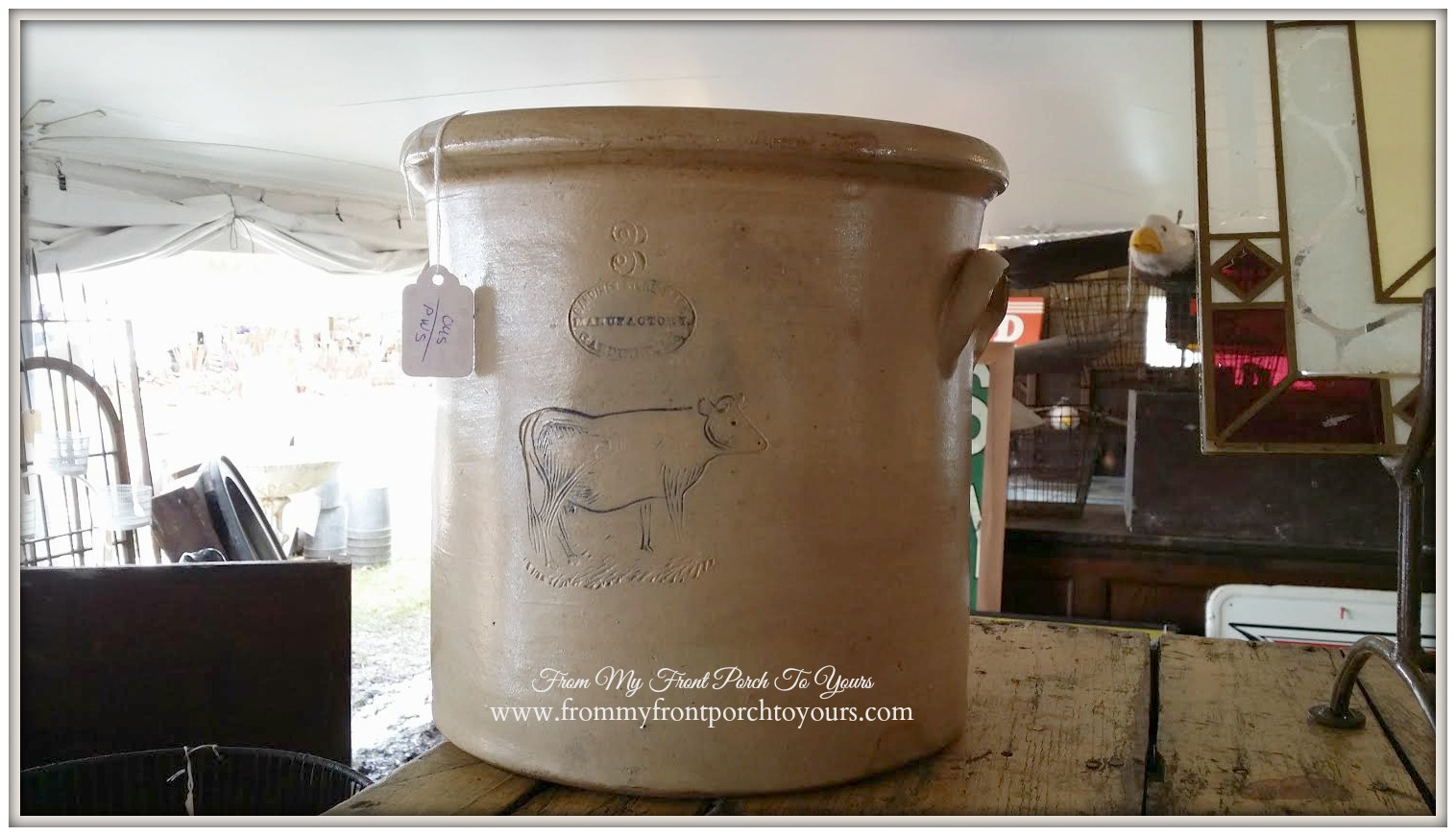 Round Top-Antique Cow Crock- From My Front Porch To Yours