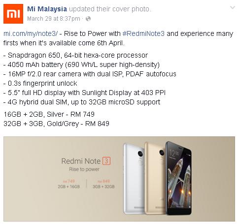 Pengalaman Beli Xiaomi Redmi Note 3 Di Mi Malaysia