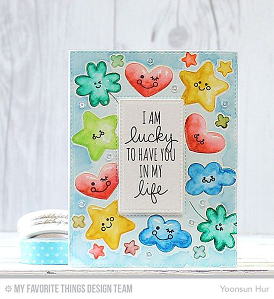 Ten Smily Faces Card by Yoonsun Hur featuring the Lucky stamp set and Die-namics #mftstamps