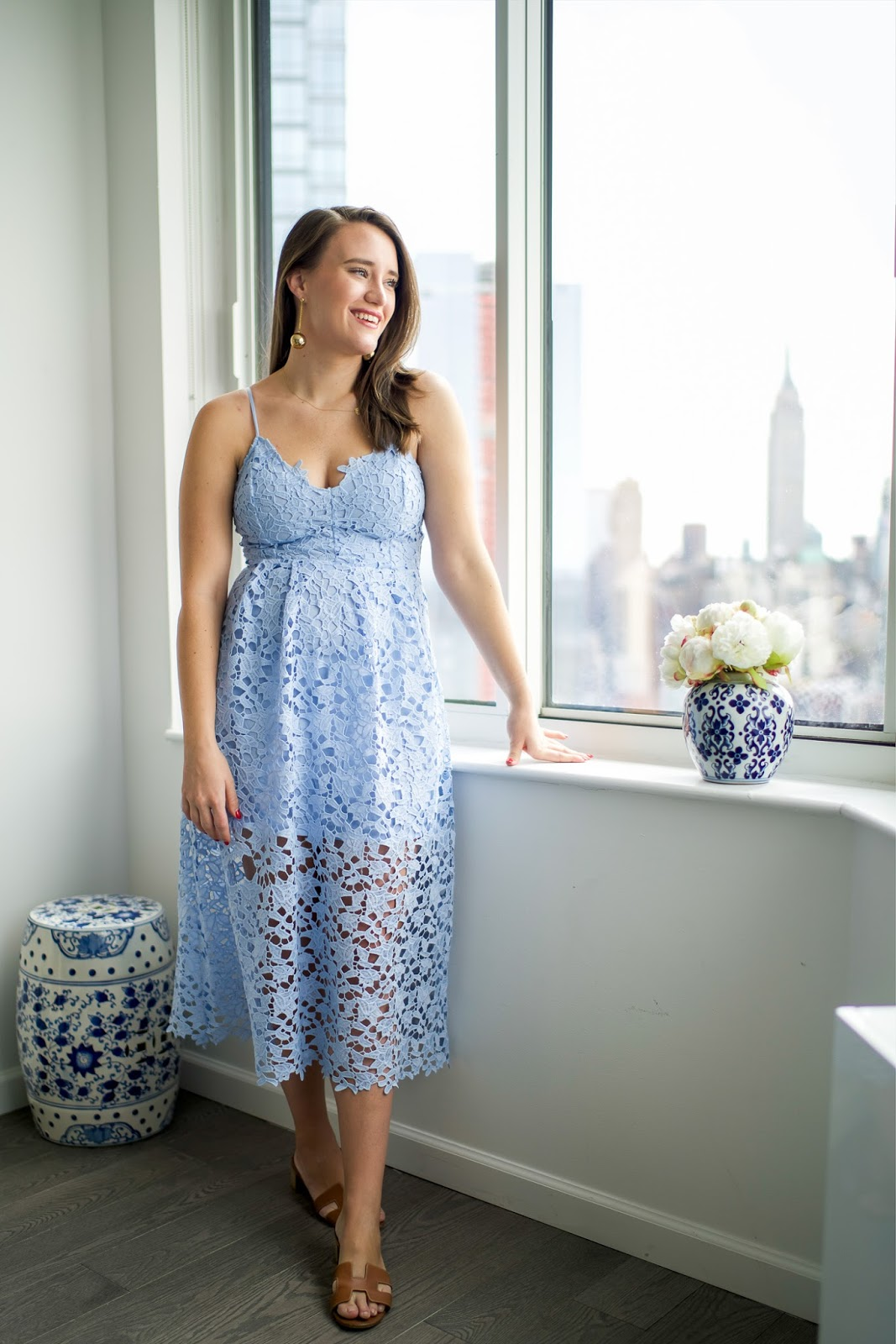 Lace Midi Dress For Spring Popular New York City Fashion