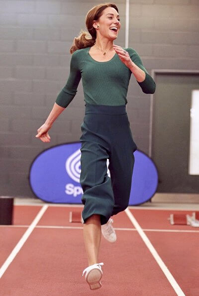 Kate Middleton wore a new high waist wide-leg trousers by Zara. Kate Middleton wore adidas Originals Stan Smith sneaker
