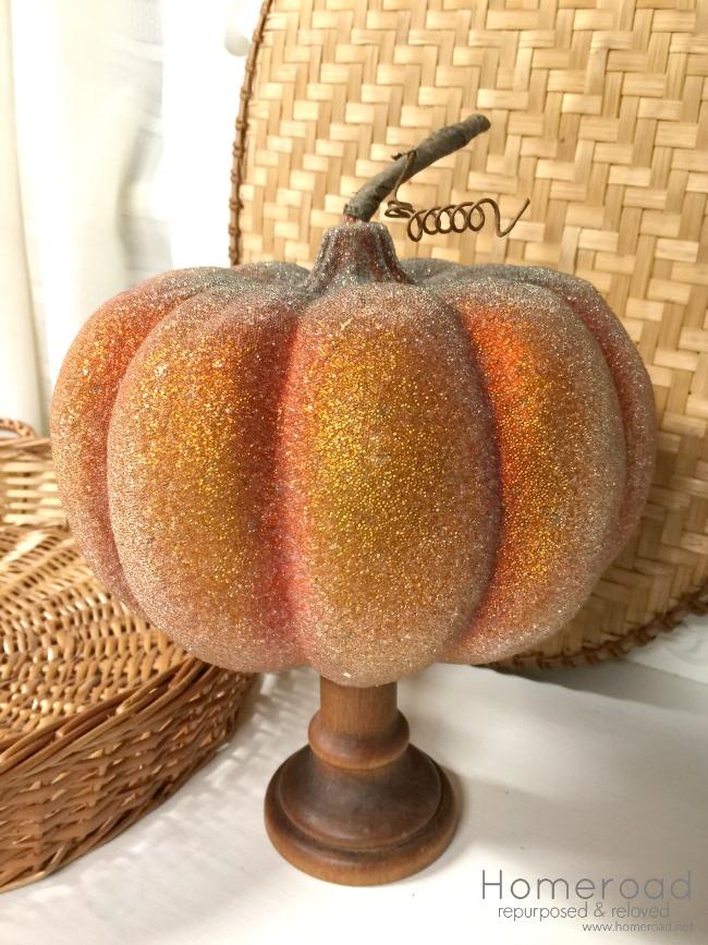 Glittered thrift store pumpkin with a DIY pedestal base www.homeroad.net