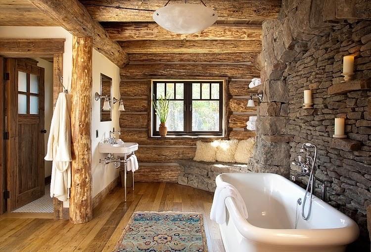 Niesamowity dom z bali w Montanie, wystrój wnętrz, wnętrza, urządzanie domu, dekoracje wnętrz, aranżacja wnętrz, inspiracje wnętrz,interior design , dom i wnętrze, aranżacja mieszkania, modne wnętrza, styl klasyczny, styl rustykalny, dom drewniany, chata w górach,łazienka