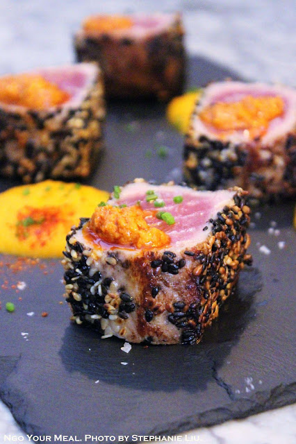 Diced Sesame Tuna with Sweet Potato Purée and Honey at Cera 23 in Barcelona
