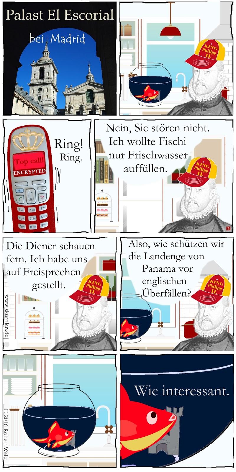 Comedy mit geschichtlichem Hintergrund. Ein geheimes Gespräch auf einem Telefon mit Verschlüsselungs-Software zu führen, ist sinnvoll. Doch König Philipp II von Spanien nutzt die Freisprech-Funktion. Erfährt nun ein Spion alles über die Verteidigung von Panama?