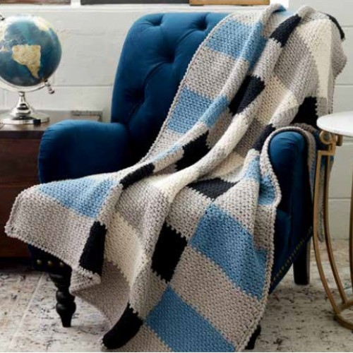 Big Plaid Crochet Blanket - Free Download