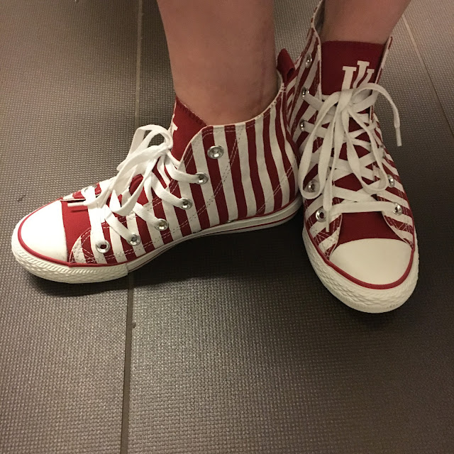 Converse Hi-Top sneakers, Indiana University, cream and crimson, red and white stripes, striped sneakers