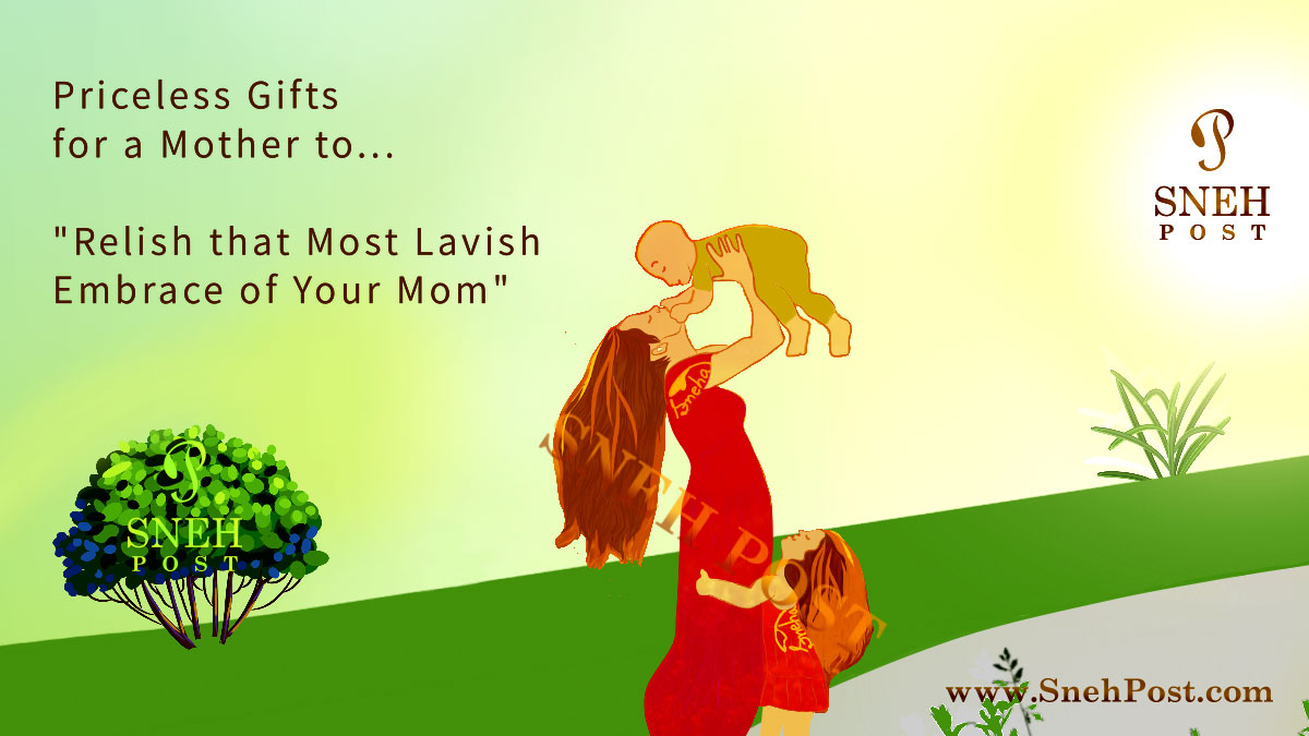Best gifts for mother as priceless tokens of love for Mom: Illustration of a beautiful loving mother kissing her baby child lifting him up in arms and her daughter embracing her legs in a farm near a green tree in sunshine