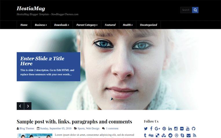 HestiaMag Free Blogger Template