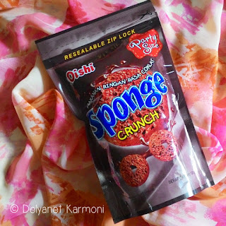 snack, coklat, oishi, sponge crunch