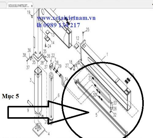Sơ đồ vị trí lắp XY LANH RA VÀO CHÂN CẨU SOOSAN SCS1015