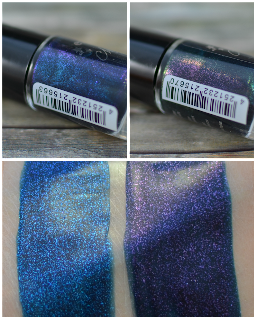 Essence midnight masquerade TE nail polishes 01 meet me midnight 02 black cats wanted und Swatches