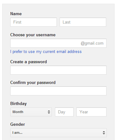 Create a google account without a gmail address for Acc email