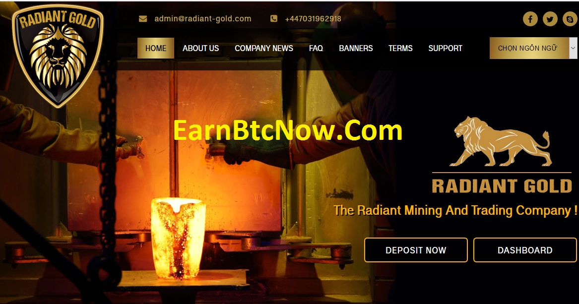 [HIYP] Mining Bitcoin (BTC) with Radiant-gold - Min Deposit : 10$ - Min Withdrawal : 10$