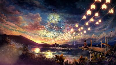 Papel de Parede Anime Manga Celebrando Ano Novo