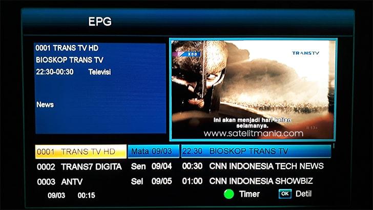Fitur EPG pada channel Trans TV HD di Telkom 3s