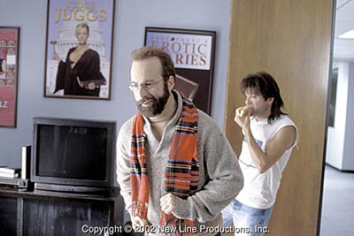 David Cross as Ronnie eating and Bob Odenkirk as Terry Twillstein in Terry's office in Run Ronnie Run movieloversreviews.filminspector.com
