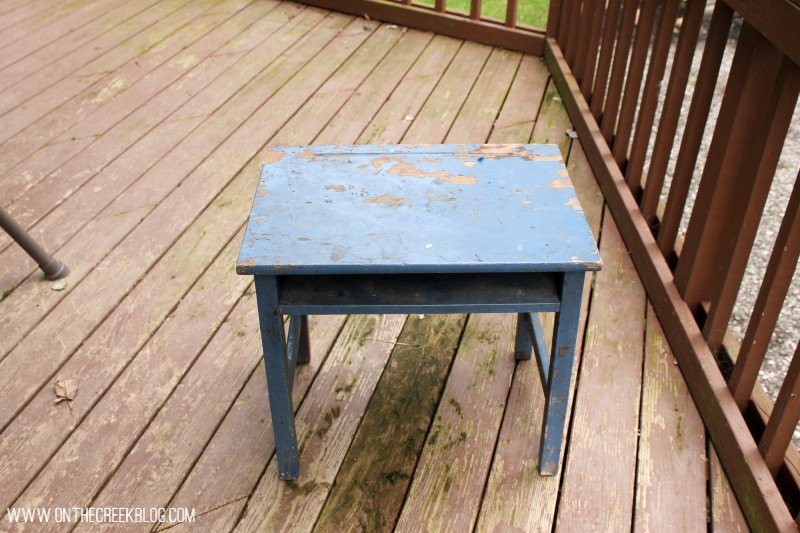 'Before' of the vintage school desk I gave a makeover to. I took the top down to bare wood & painted the sides using Annie Sloan Chalk Paint® in Graphite!