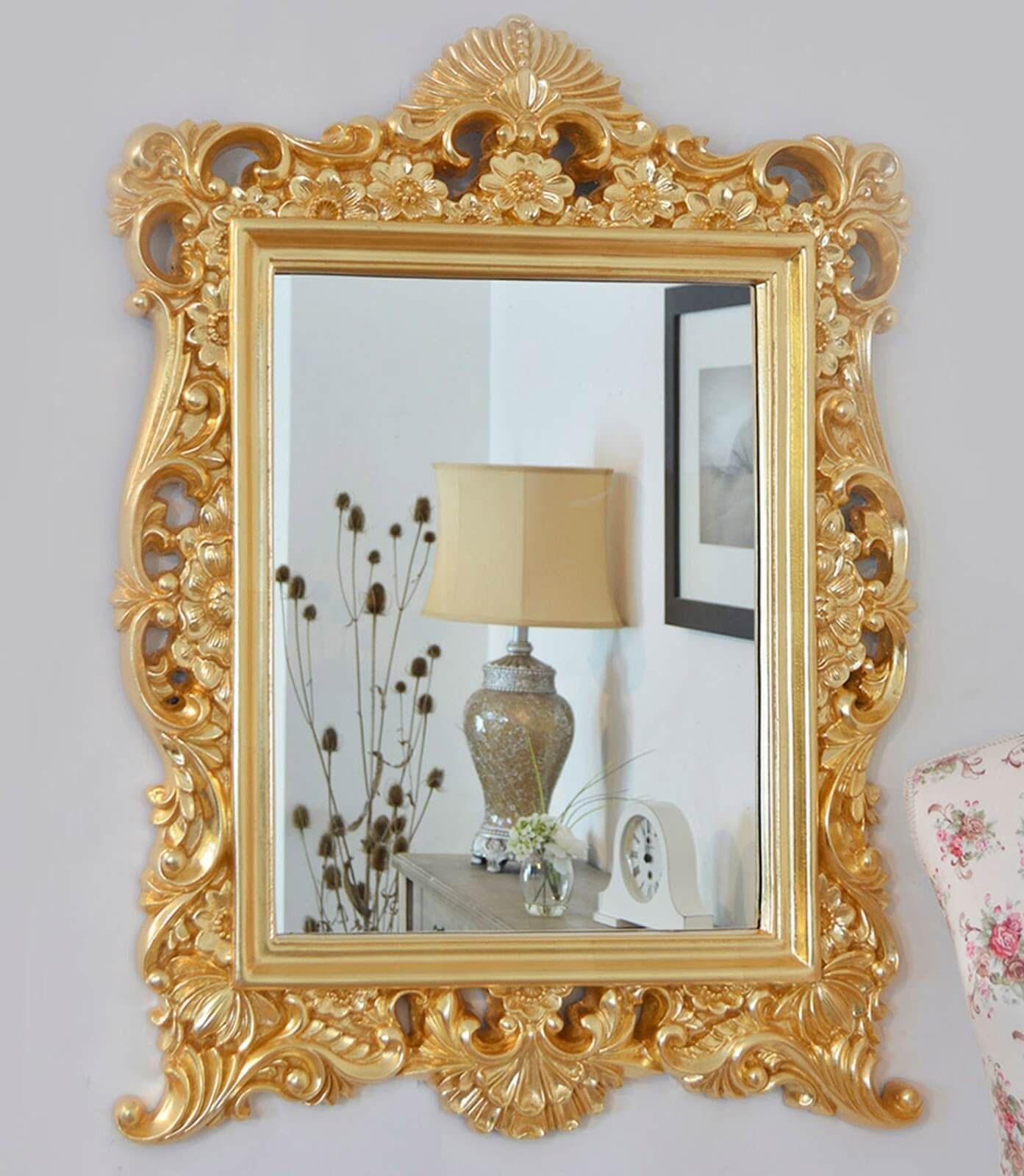 Decorative ornate mirrors wall vs floor which one better awesome gold decorative ornate wall hanging mirror amipublicfo Images