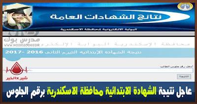 نتيجة الشهادة الابتدائية محافظة الاسكندرية 2017 الترم الثاني برقم الجلوس