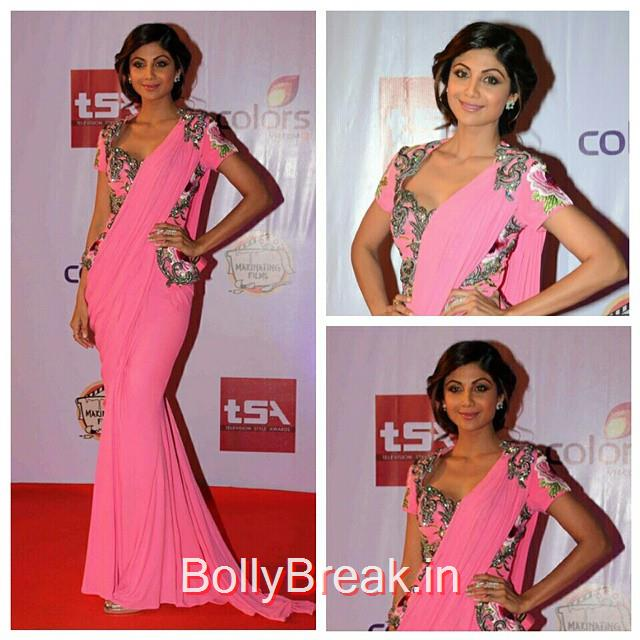 shilpa shetty in monisha jaising and jewellery from anmol jewellers for the television style awards last night, styled by sanjana batra.  insta bollywood , bollywood , shilpa shetty , t sa , television style awards , sty ling , style file , @monishajaising @anmol_jewellers @stylecliquebysanjana, Hot Pics of Shilpa Shetty From Television Style Awards