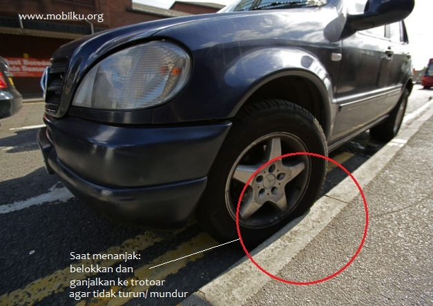 ban, roda, posisi, parkir, tepat, benar, saat, tanjakan, turunan