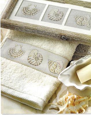 Asciugamano con le conchiglie- schema punto croce free