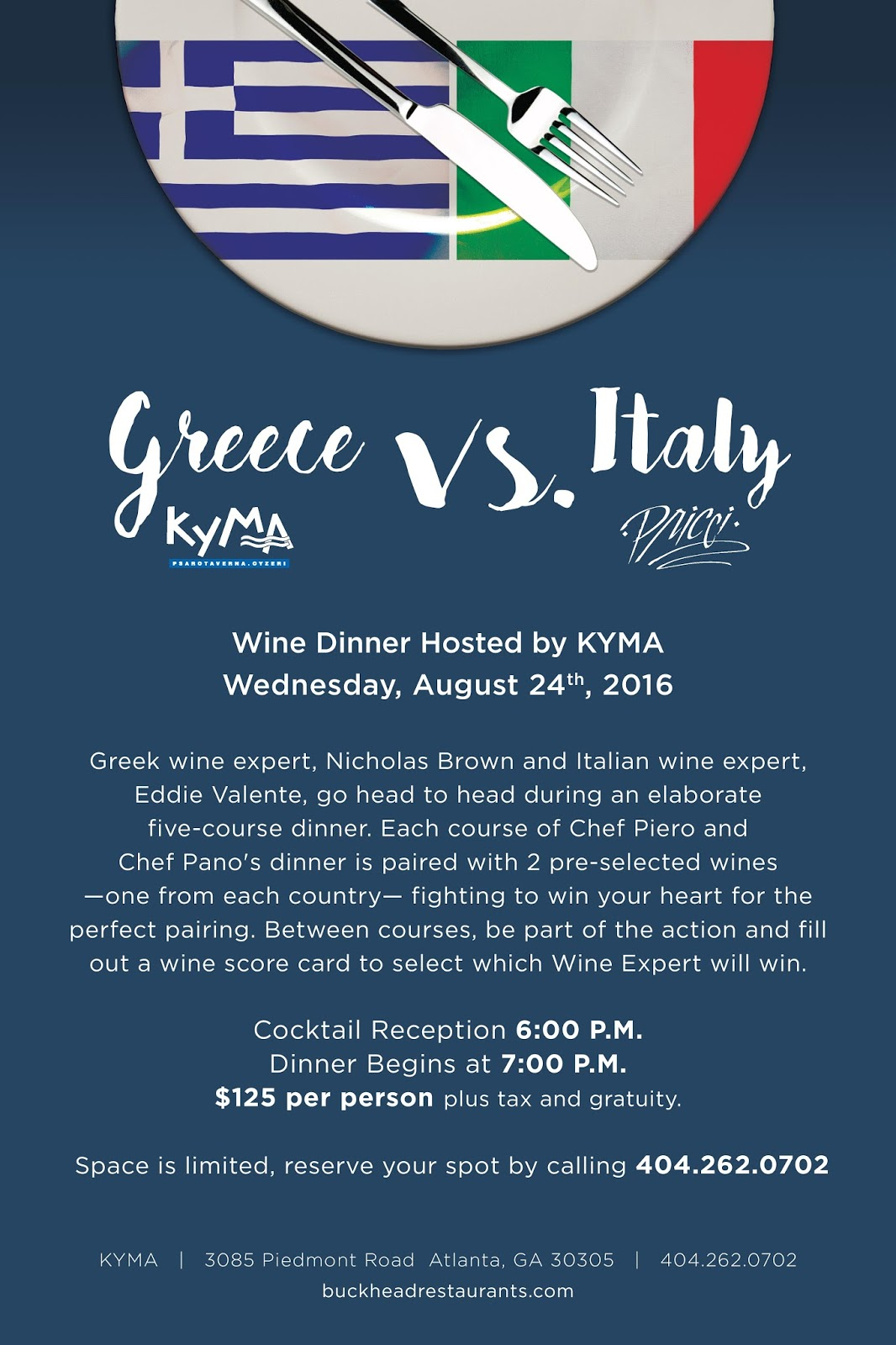 atlanta table: Greece vs. Italy Five-course Wine Dinner at Kyma