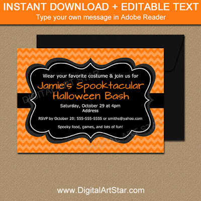 halloween invitation party printable with editable text