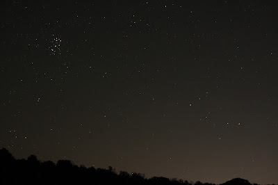 Pleiades rising over the hill