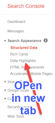 Open data highlighter in new tab
