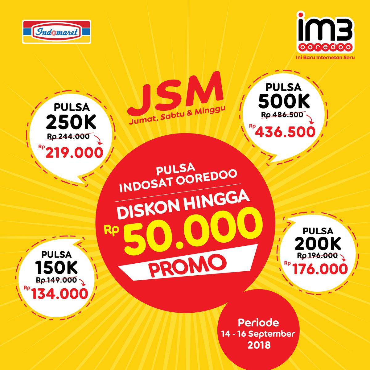 Indomaret - Promo JSM Pulsa Indosat Diskon s.d 50 Ribu (s.d 16 Sept 2018)