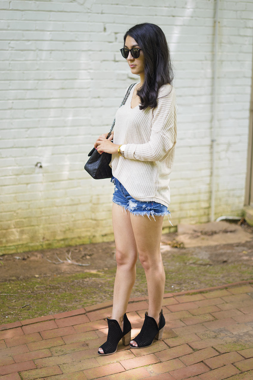 Socialite thermal top, zara ripped shorts, lucky brand larise booties