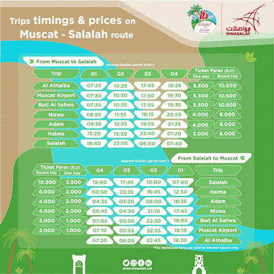 Source: Mwasalat. Timetable for bus trips to and from Salalah over the period of the Salalah Tourism Festival 2017.