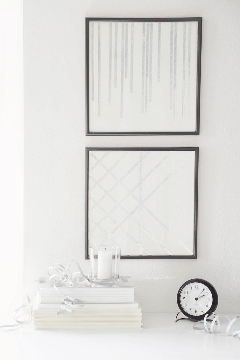Einfache DIY-Kunst aus silbernen Metallic-Luftschlangen, geometrisches Muster und Linien Bilder Upcycling ganz einfach und günstig basteln als minimalistische Wanddeko. Tasteboykott DIY-Blog.