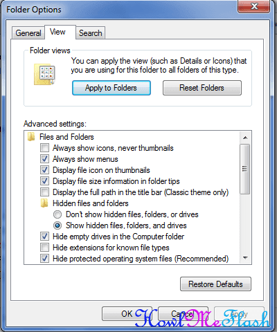 show hidden files and folder