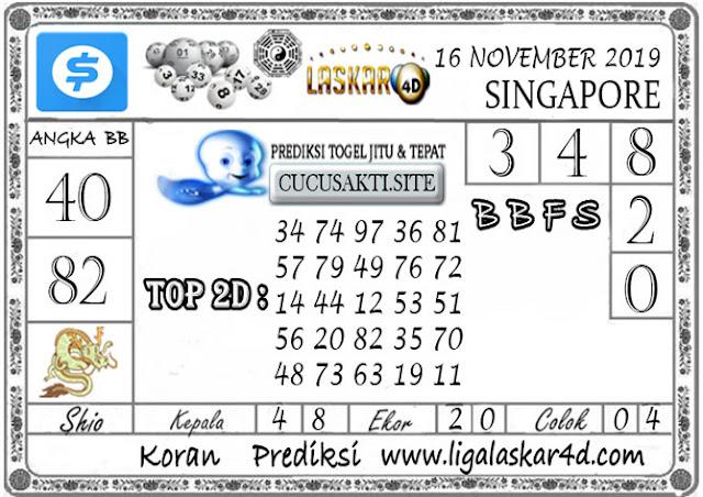 Prediksi Togel SINGAPORE LASKAR4D 16 NOVEMBER 2019