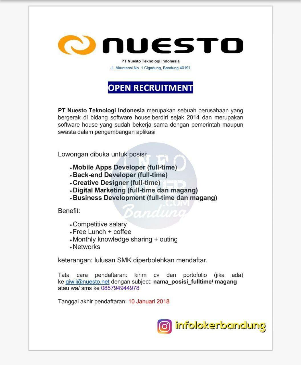 Lowongan Kerja PT. Nuesto Teknologi Indonesia Bandung Desember 2017