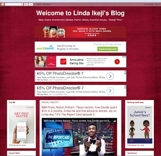 Tampilan Lama Blog Linda Ikeji saat memakai Blogspot