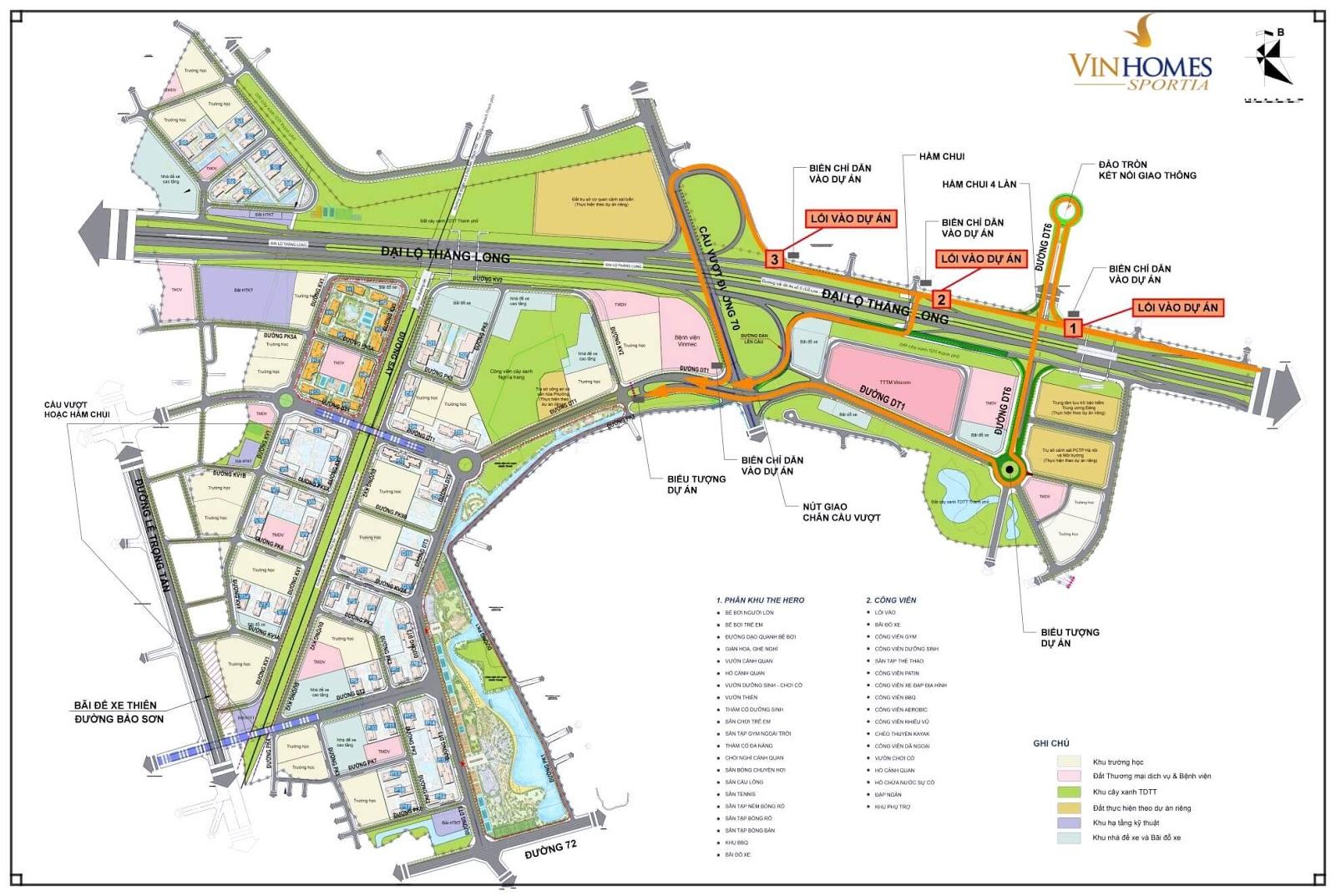 Quy hoạch tổng thể của khu đô thị Vinhomes Sportia