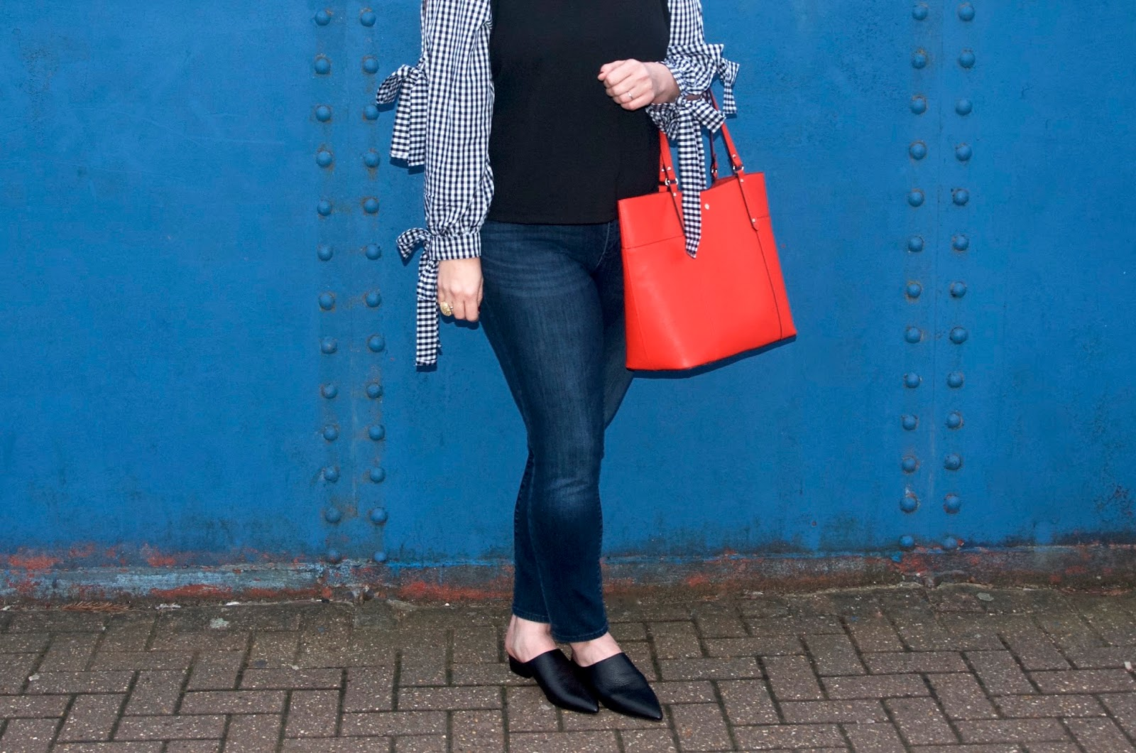 black and white checked sleeved jumper and red bag