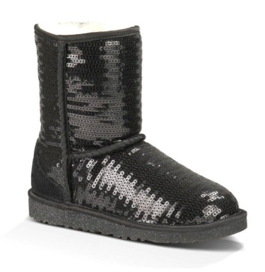 Most wanted Christmas Gift for teenage girls, UGG Australia Kids Classic Short Sparkles Boot - black