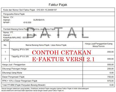 contoh hasil cetak e-faktur batal versi 2.1