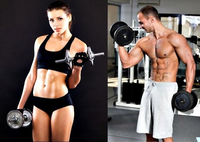 Entrenamiento pesas ayunas hombre mujer