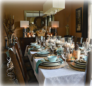 Thanksgiving tablescape and sideboard decorating