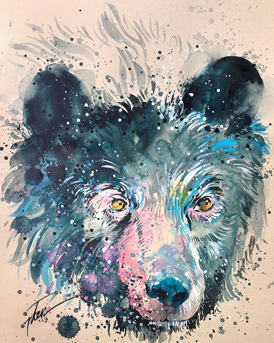 08-Bear-Tilen-Ti-Paintings-of-Animals-with-Splashes-of-Paint-www-designstack-co